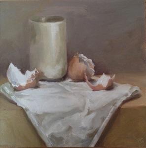 Eggshells and sake cup