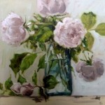 Roses in a blue jar
