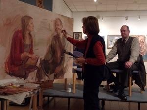 June Mendoza paints chairman Ian Cryer