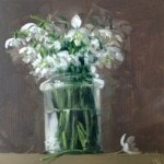 Snowdrops on a shelf