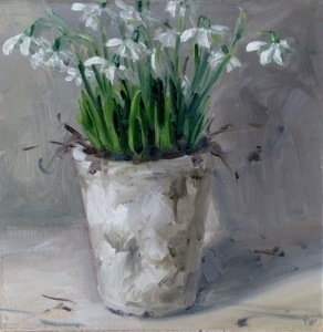Snowdrops in white pot