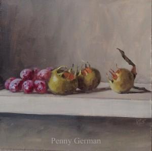 1649 medlars and grapes