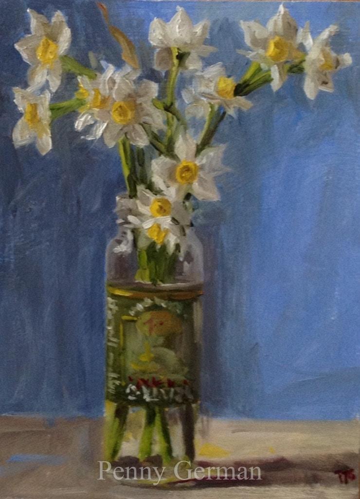 1657 jonquils in an olive jar