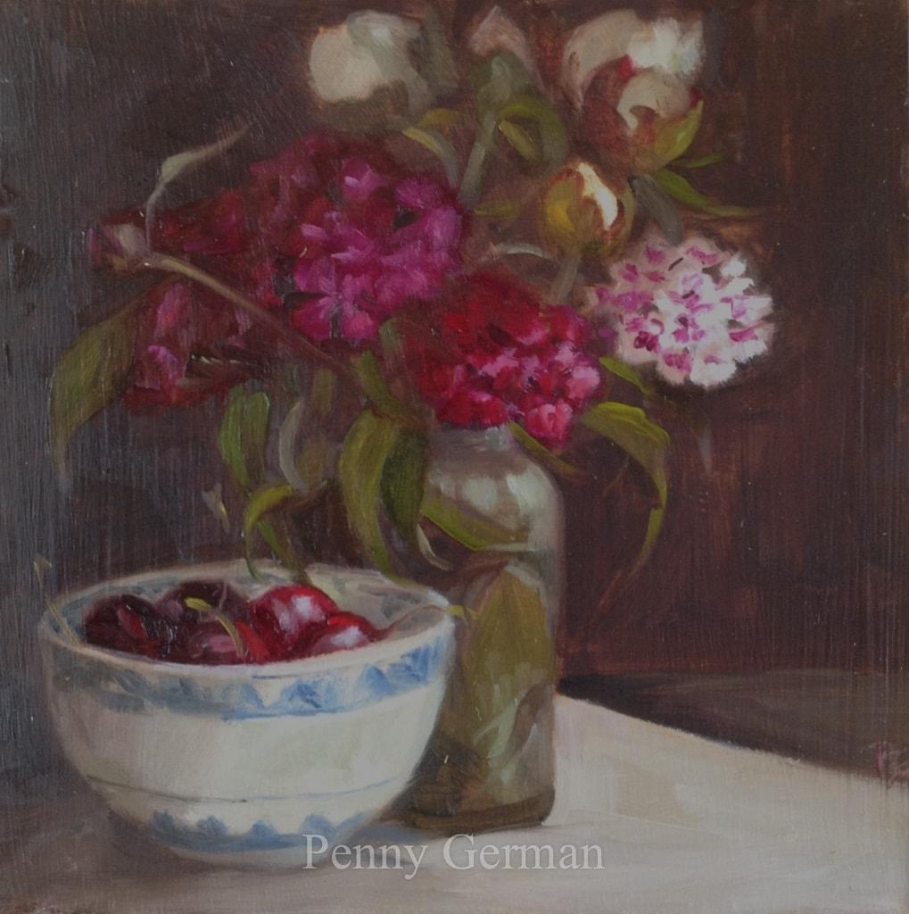 1729 Sweet Williams Peonies and Cherries