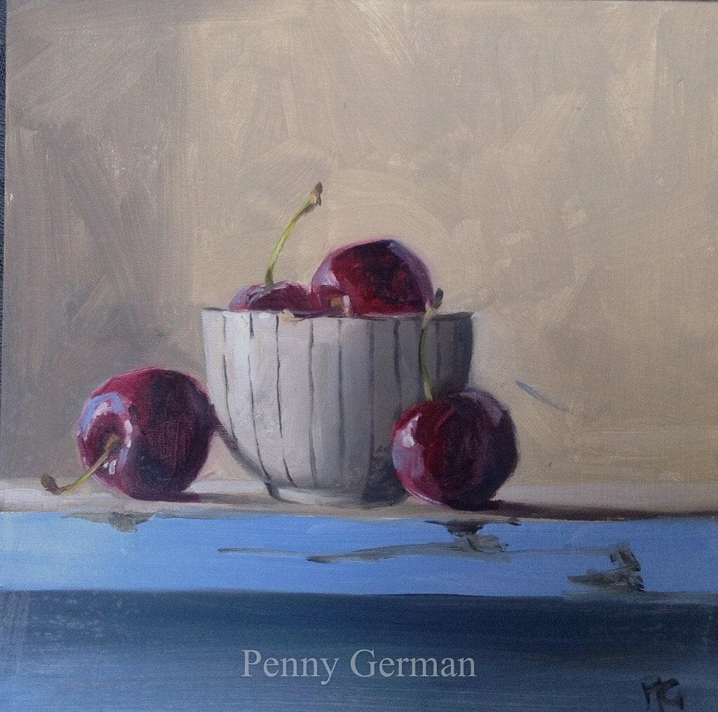 1769 cherries on blue shelf