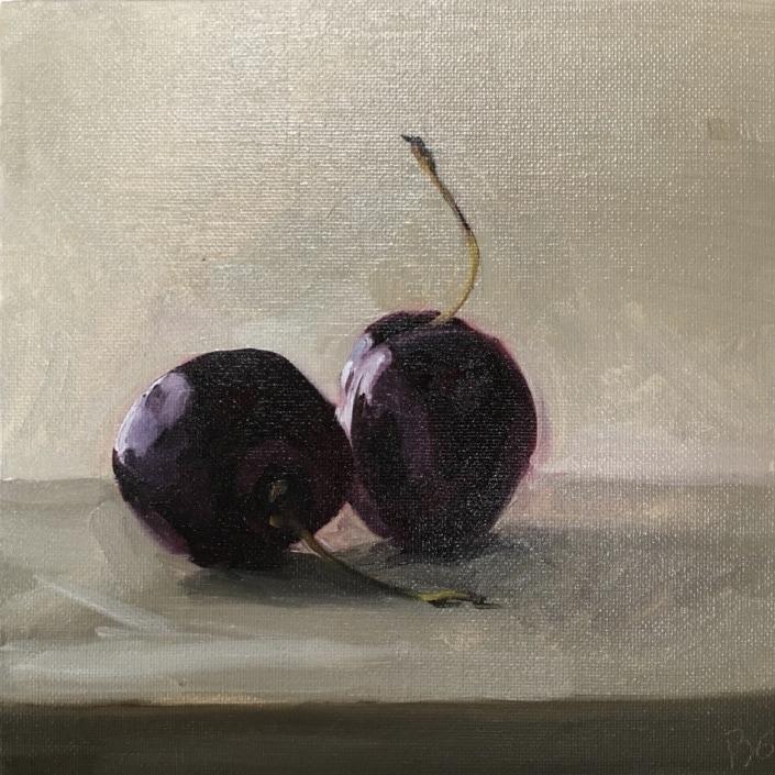 cherries, cherry pair, oil painting, still life