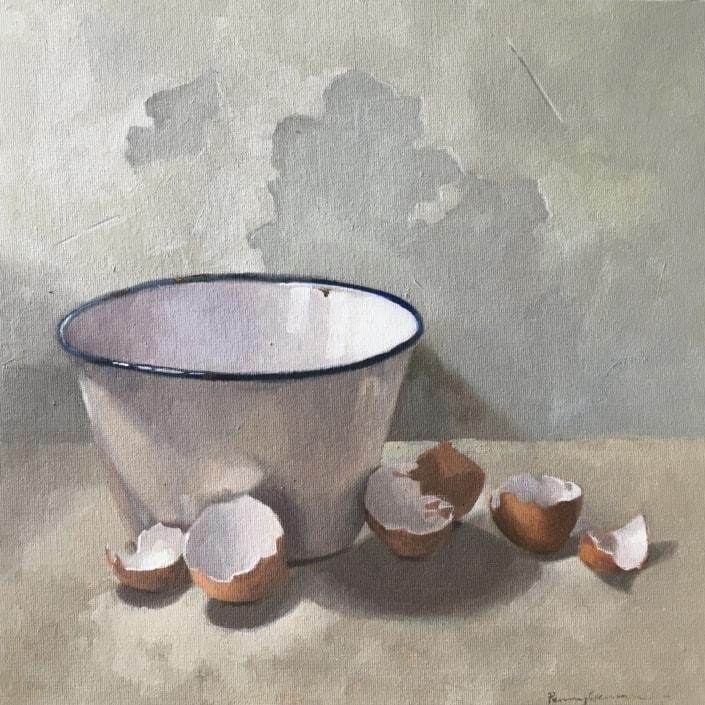 eggshells, enamel bowl, oil painting, still life