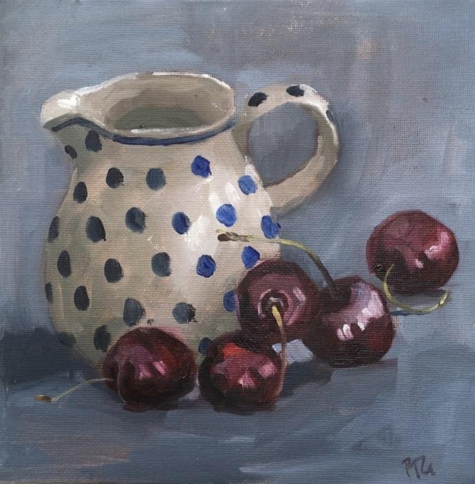 cherries and spotty jug 9454